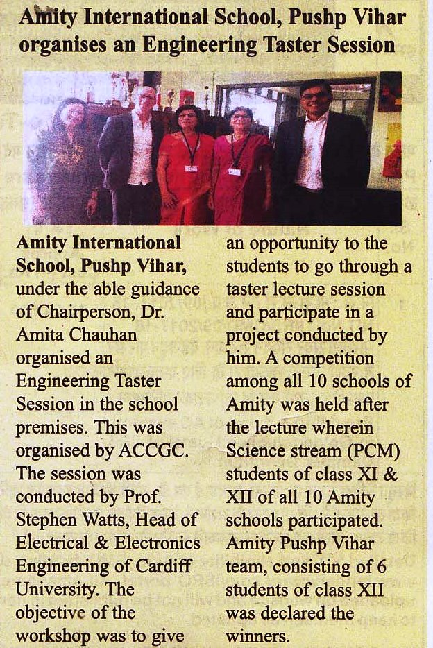 Amity International School Pushp Vihar organised an Engineering Taster Session - Amity Events