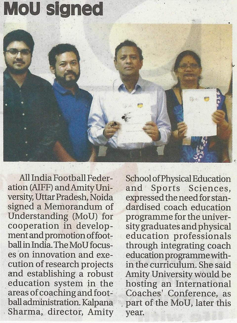 Amity University signs MoU with All India Football Federation - Amity Events