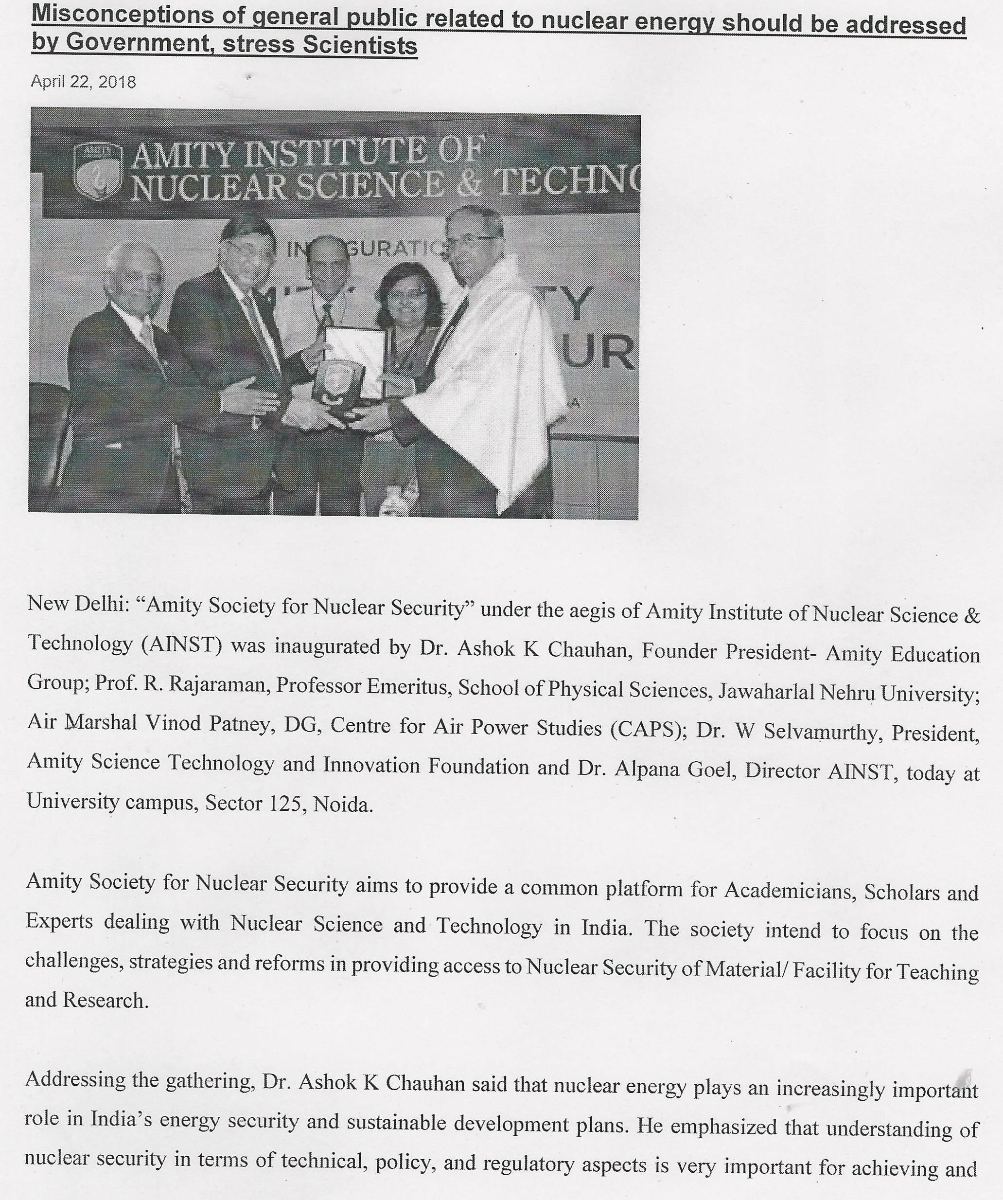 """Amity Society for Nuclear Security"" launched at Amity University Noida Campus - Amity Events"