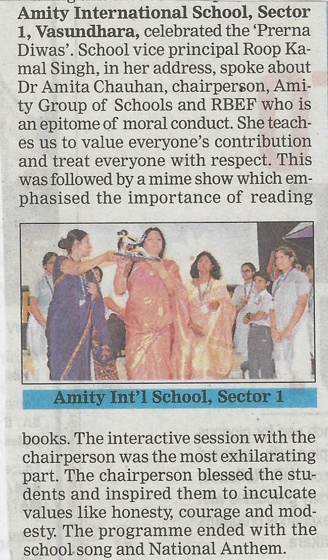 Amity International School Vasundhara Sector 1 celebrates Prerna Diwas - Amity Events