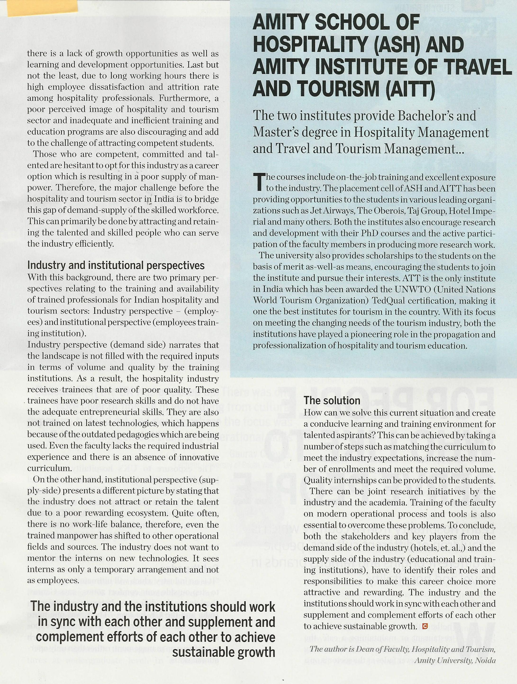 Challenges and way ahead for Indian Hospitality Sector- Article by Prof.(Dr) M. Sajnani - Amity Events