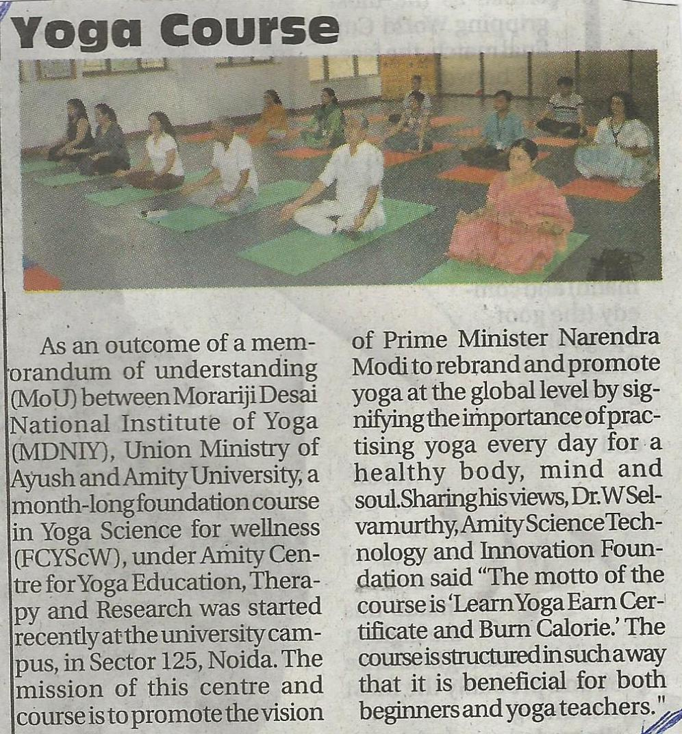 One Month Yoga Course commences at Amity University - Amity Events