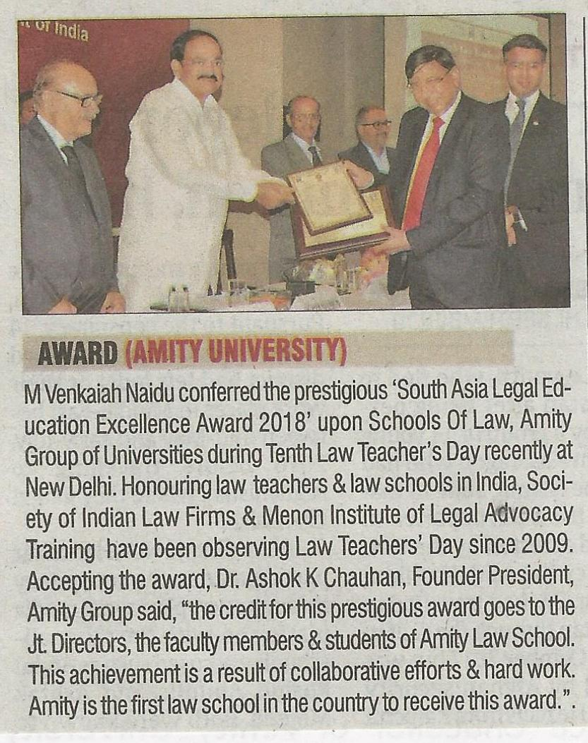 Vice President of India has conferred 'South Asia Legal Excellence Award' upon Amity Law S - Amity Events