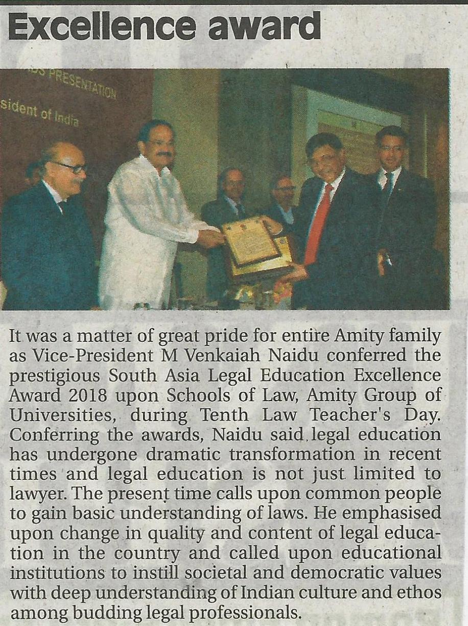 Vice President of India confers 'South Asia Legal Excellence Award' upon Amity Law Schools - Amity Events