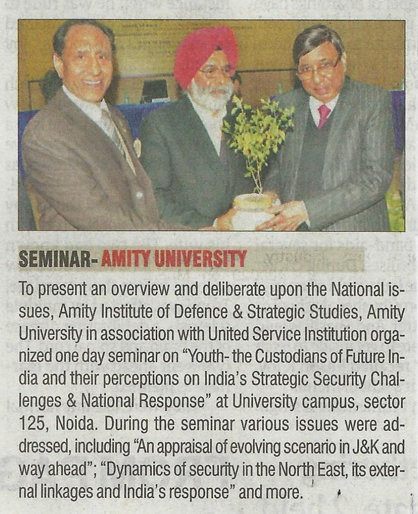Amity in association with USI organizes one day seminar on Youth- the Custodians of Future - Amity Events