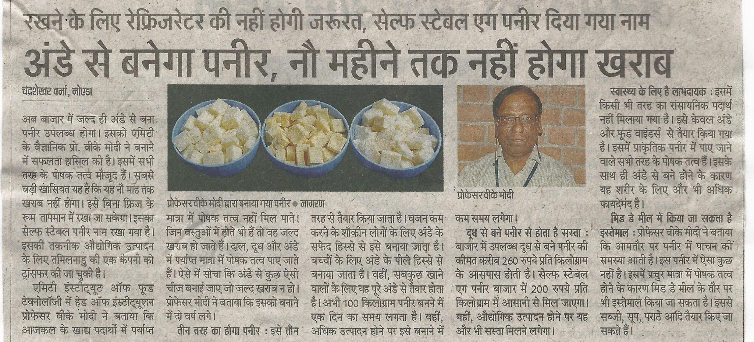 Innovation on Paneer made from Egg by Prof VK Modi - Amity Events