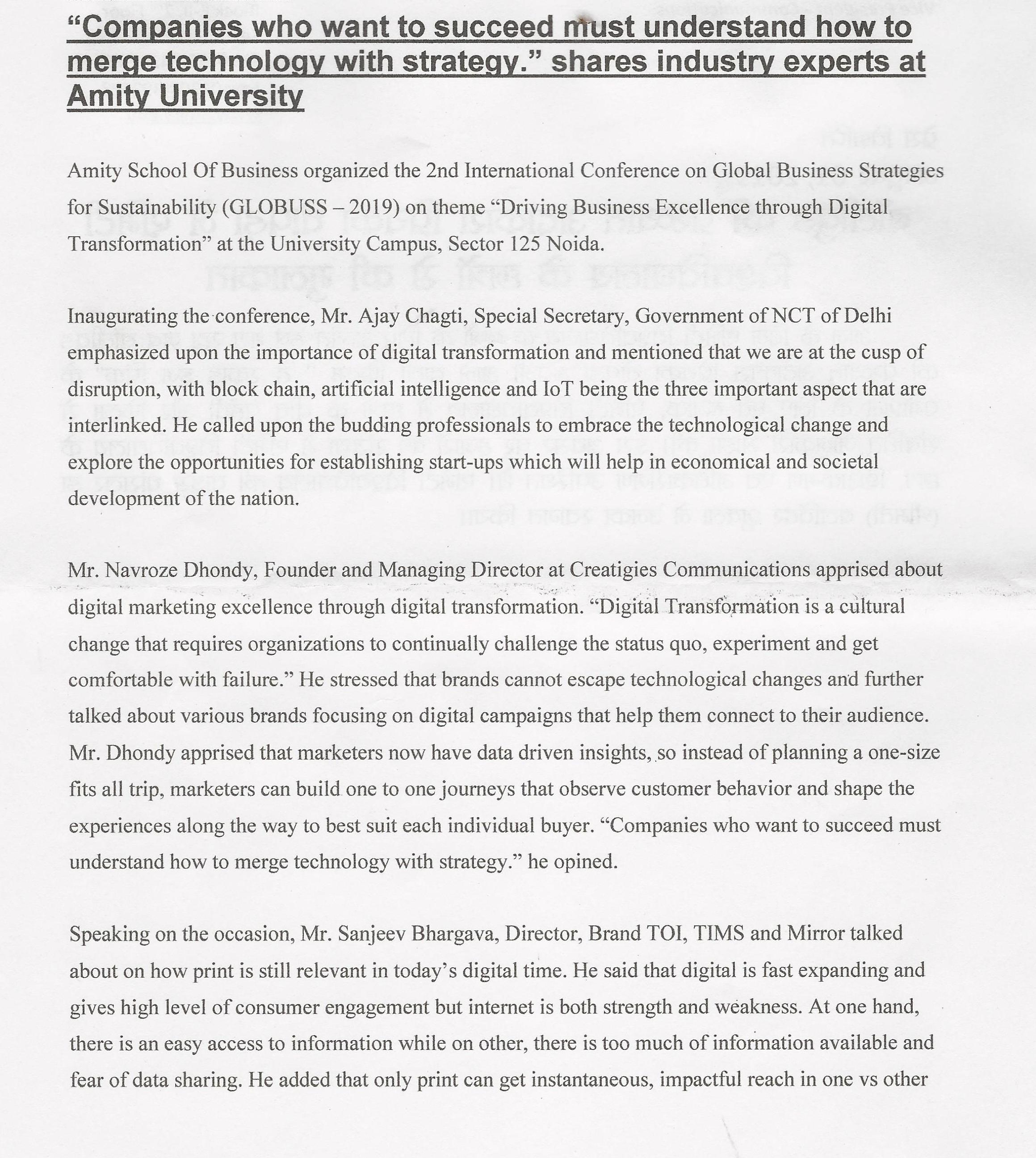 Amity School Of Business organizes 2nd International Conference GLOBUSS 2019 - Amity Events