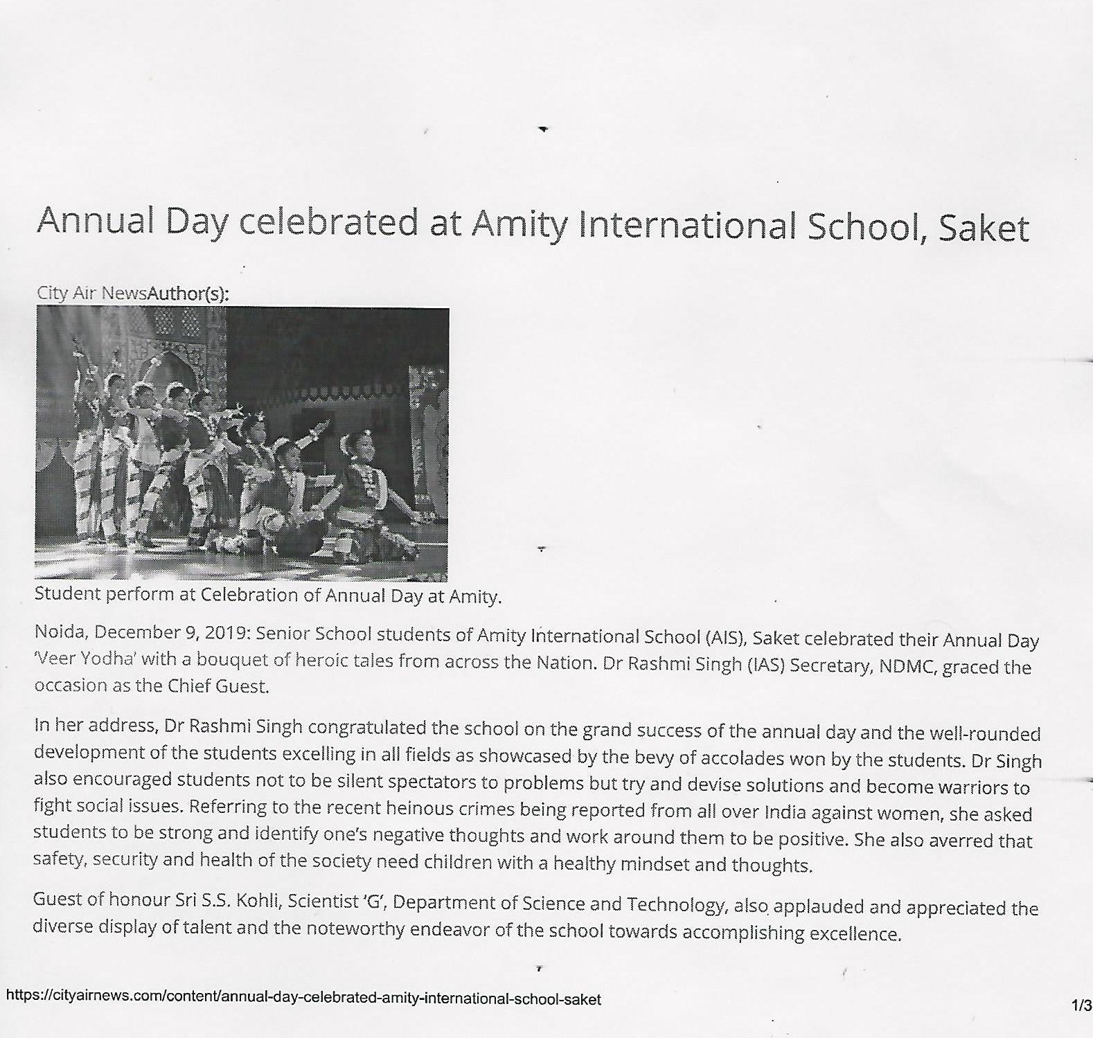 Amity International School Saket celebrates Annual Day - Amity Events