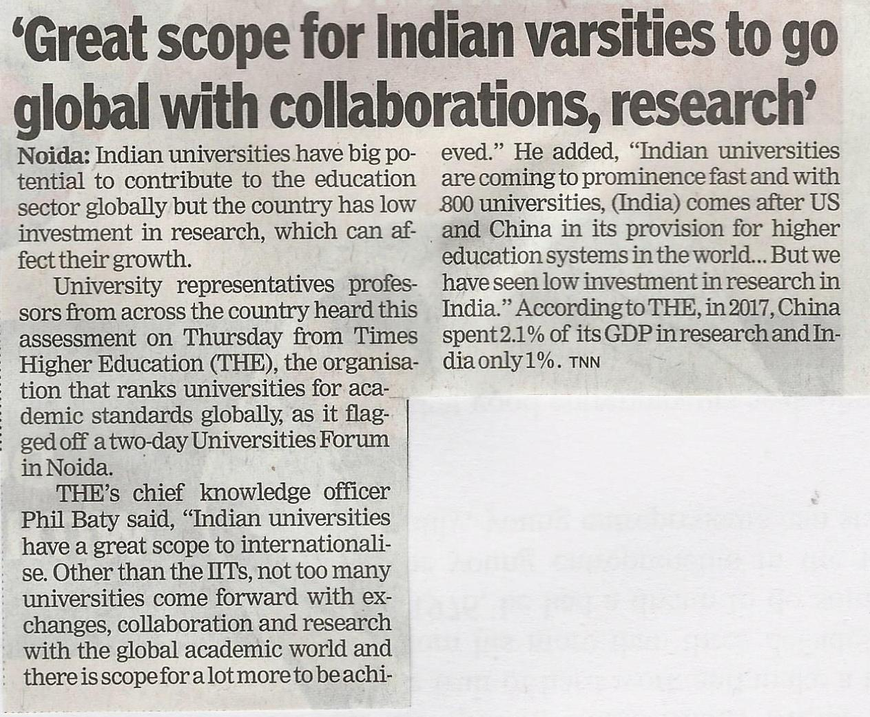 Times Higher Education – (THE) Indian Universities Forum commences at Amity University - Amity Events