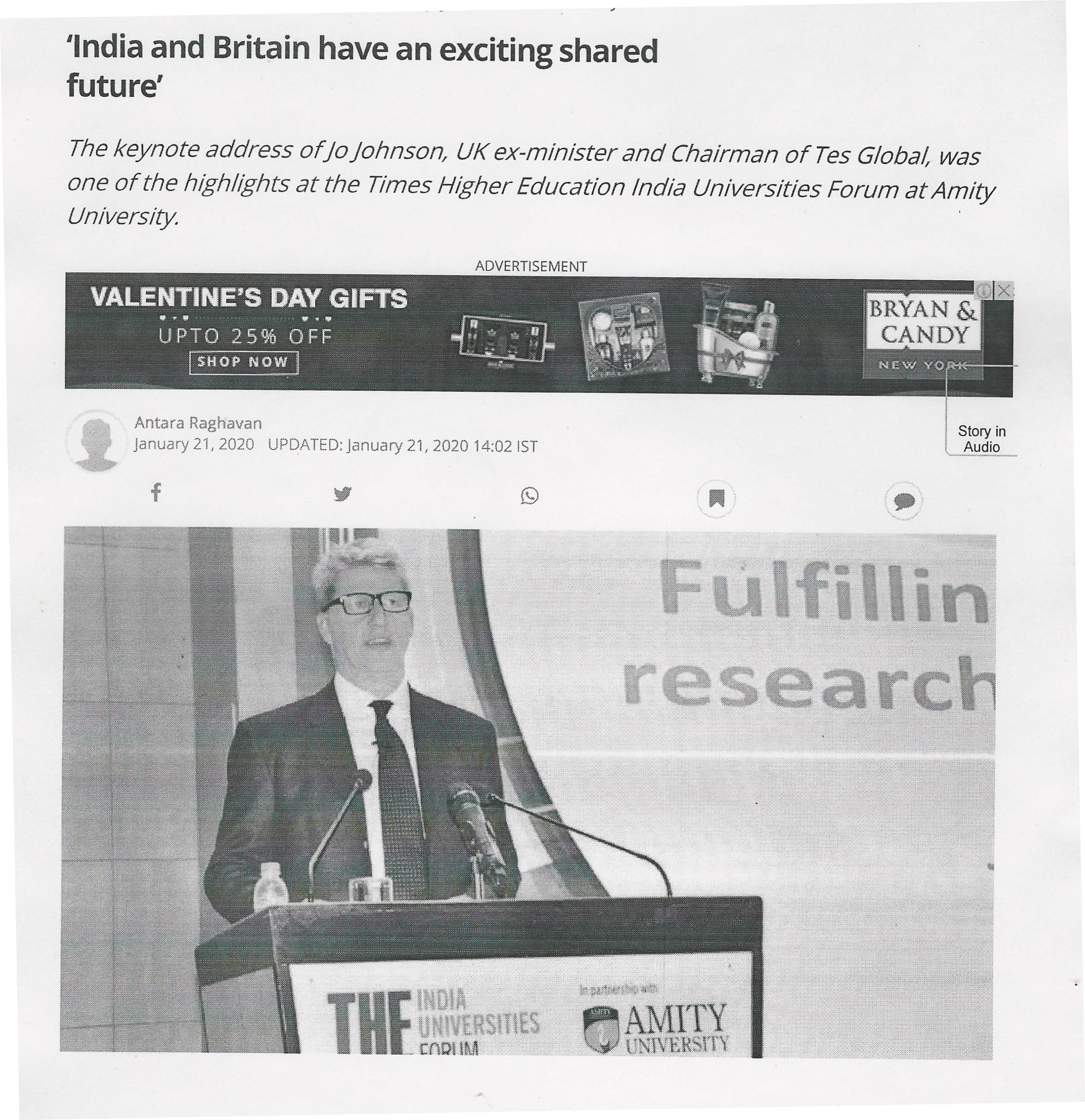 Times Higher Education – (THE) Indian Universities Forum held at Amity University - Amity Events