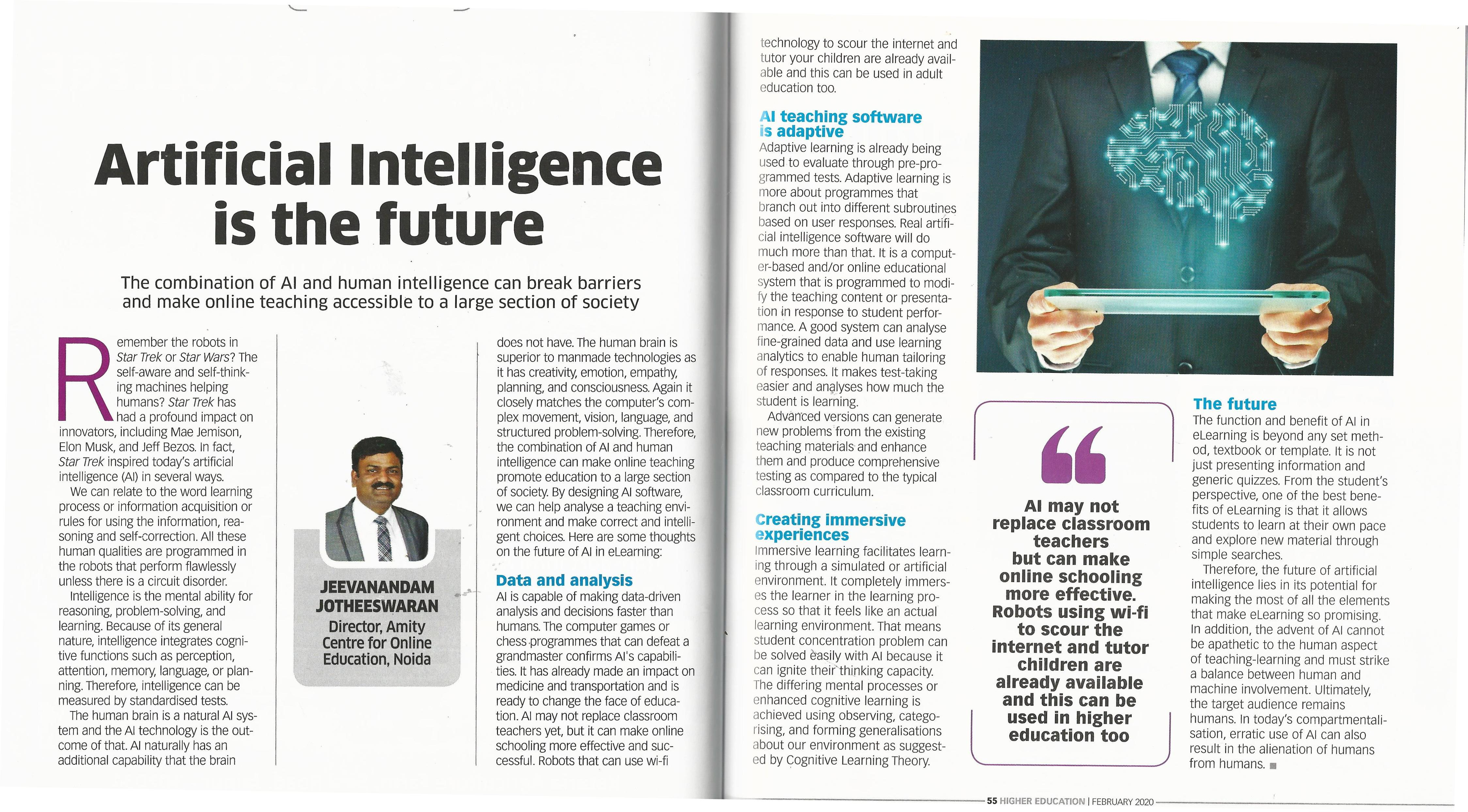 Artificial Intelligence is the future- Article by Dr. Jeevanandam Jotheeswaran - Amity Events