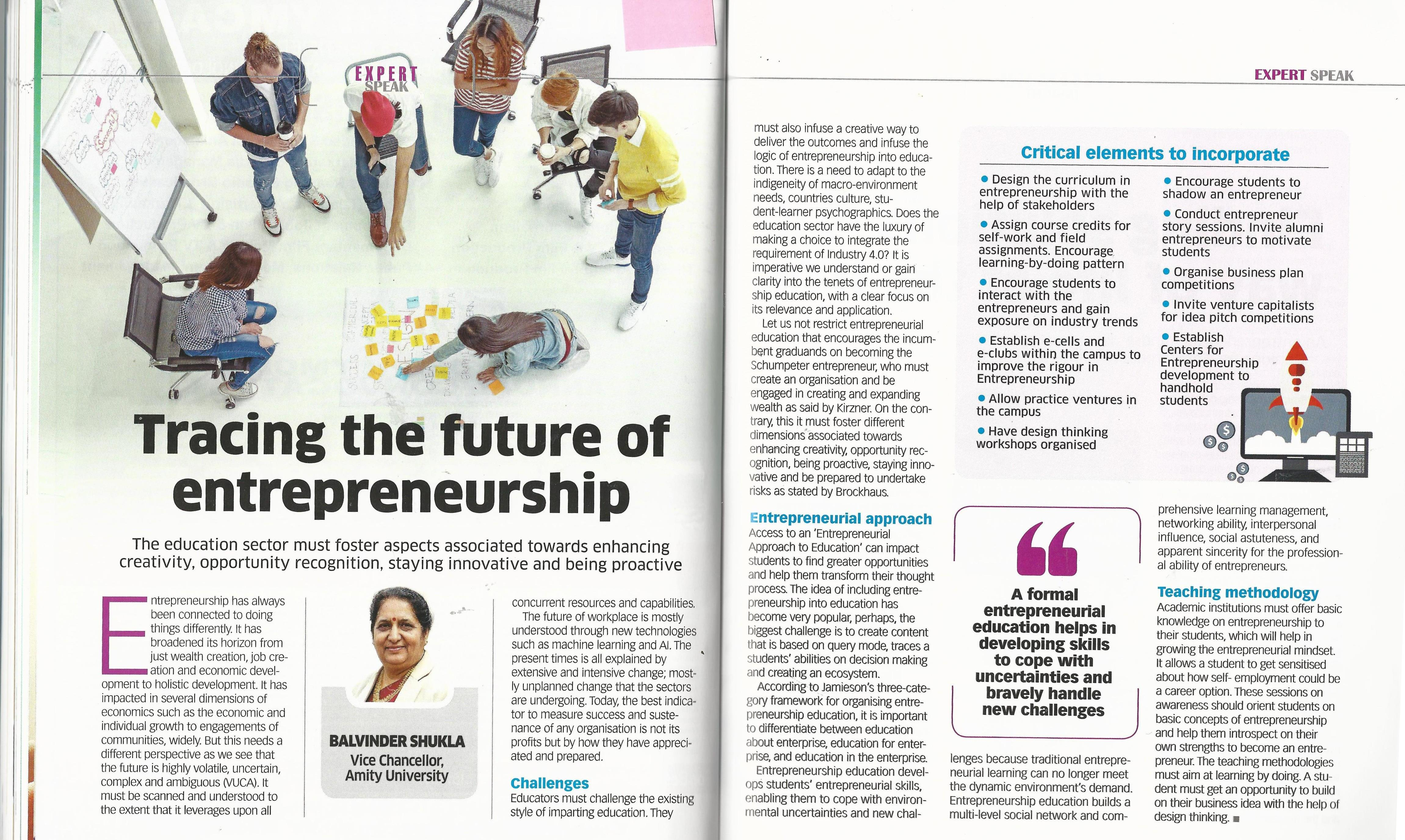 Tracing the future of entrepreneurship- Article by Dr Balvinder Shukla - Amity Events
