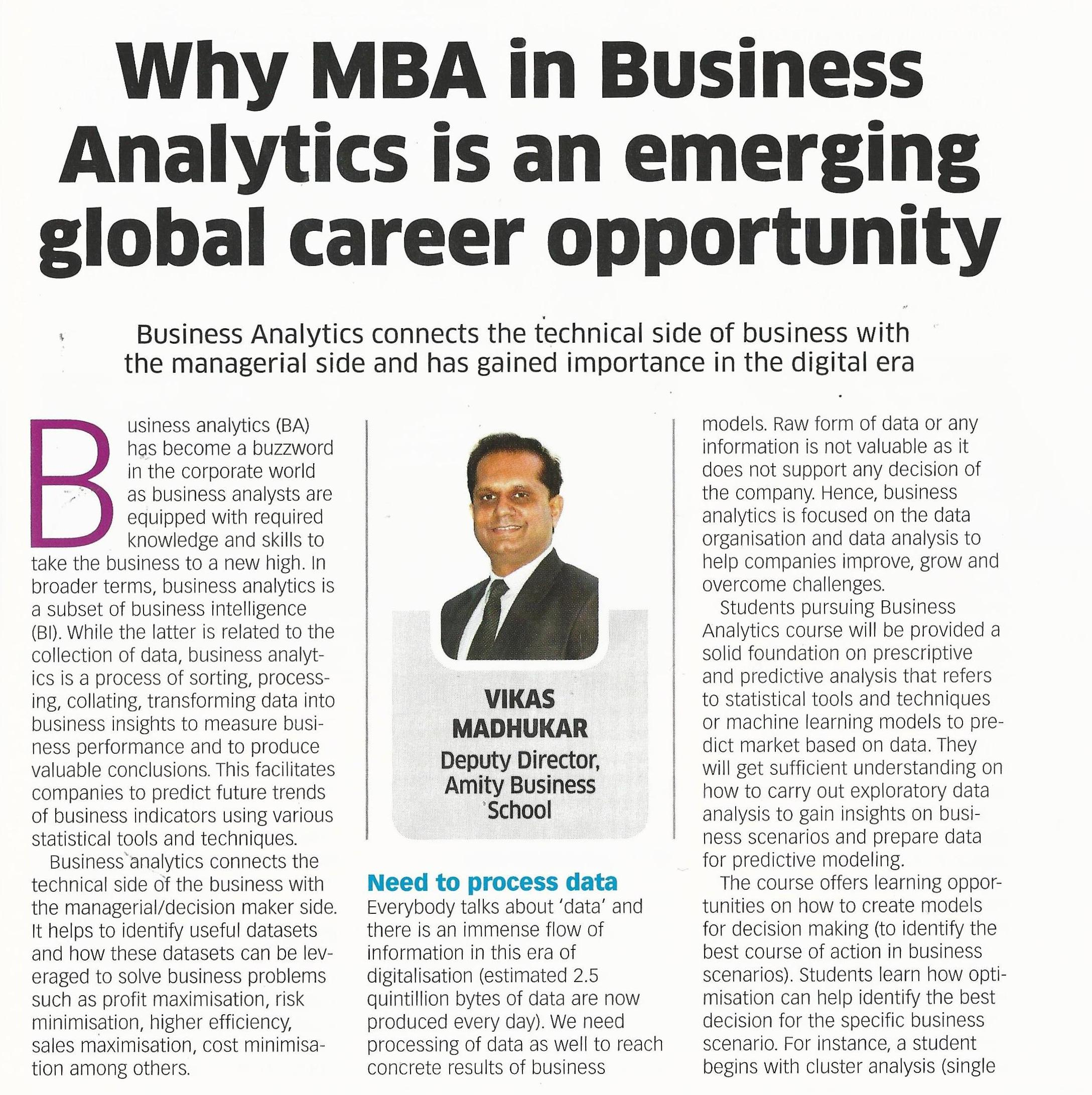 Why MBA in Business Analytics is an emerging global career opportunity-Article by Dr. Vika - Amity Events
