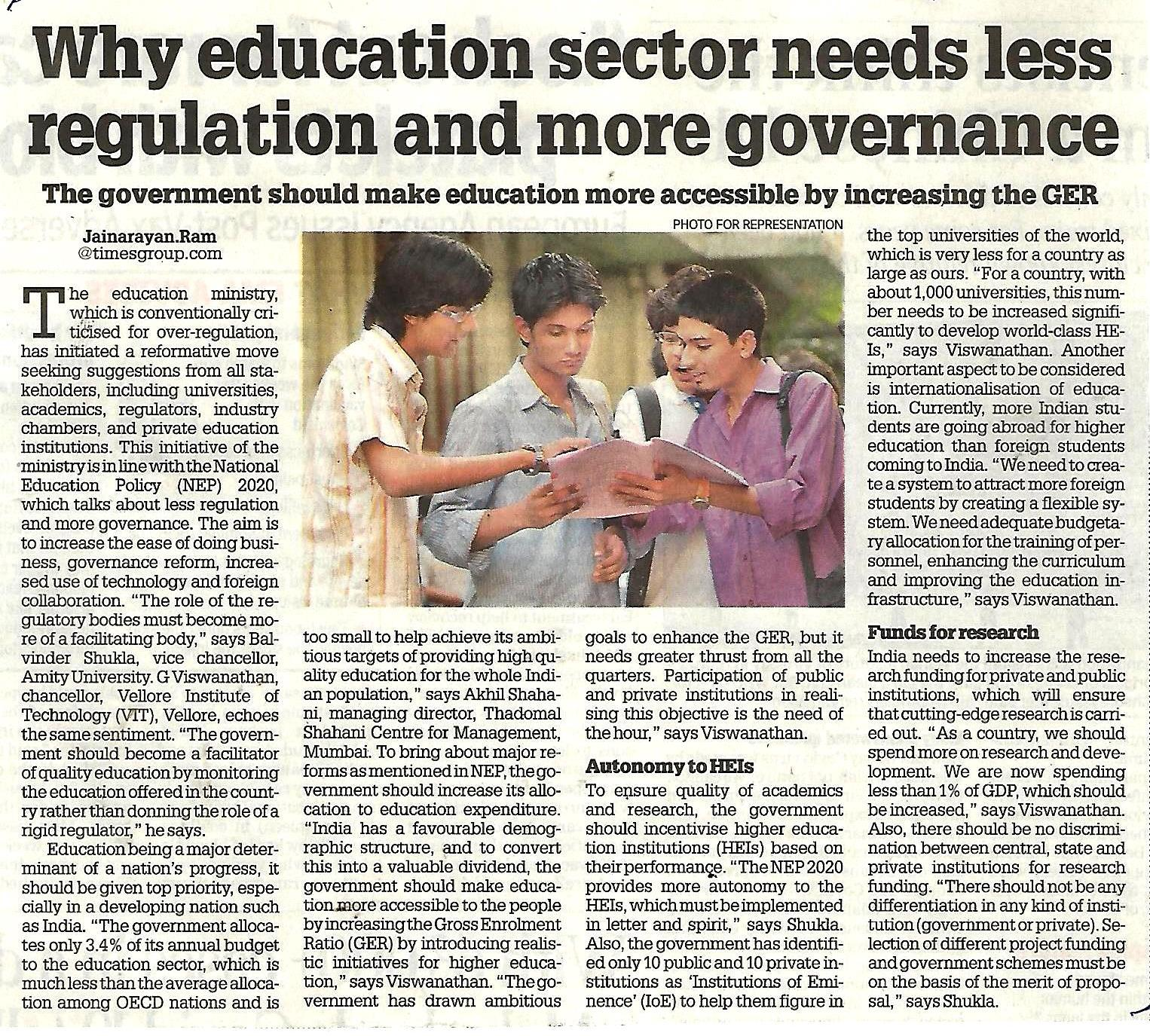 Why education sector needs less regulation and more governance- Quote of Dr. Balvinder Shu - Amity Events