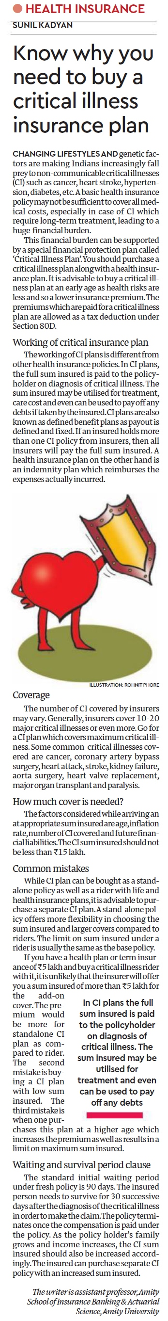 Article by Sunil Kadyan Faculty ASIBAS on critical insurance - Amity Events