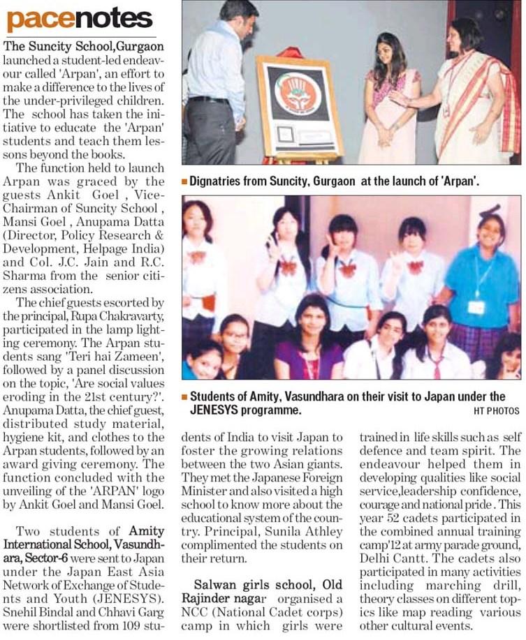 Two students of Amity International School Vasundhara Sec-6 visited