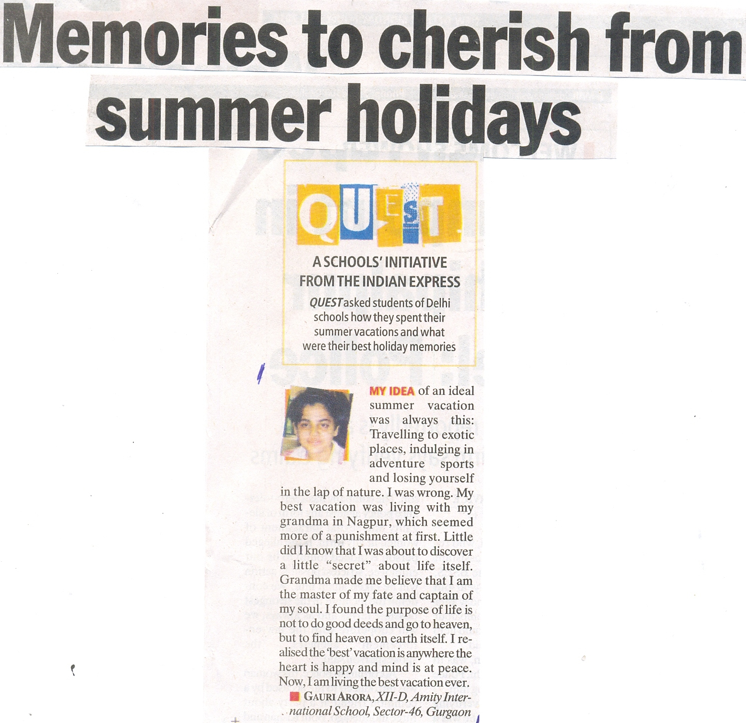 Memories to cherish from summer holidays - quote of student of AIS