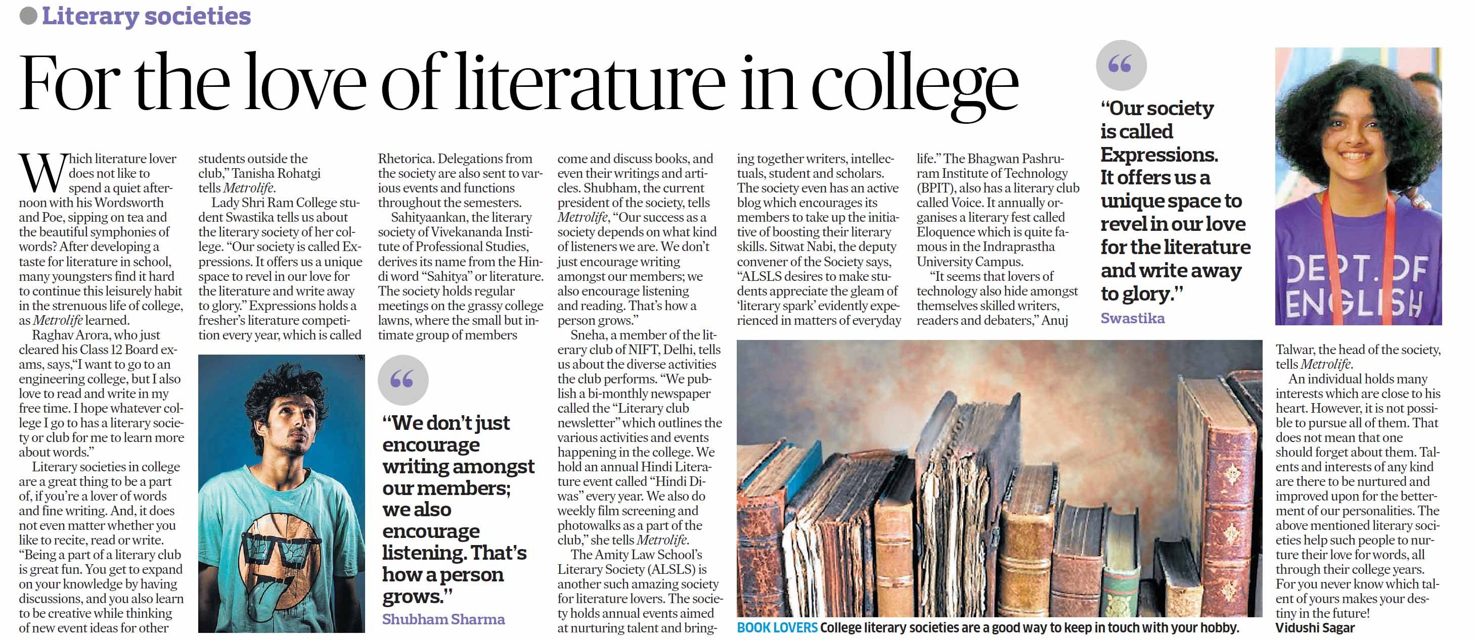 For the love of literature in college Mention of Amity Law School''s
