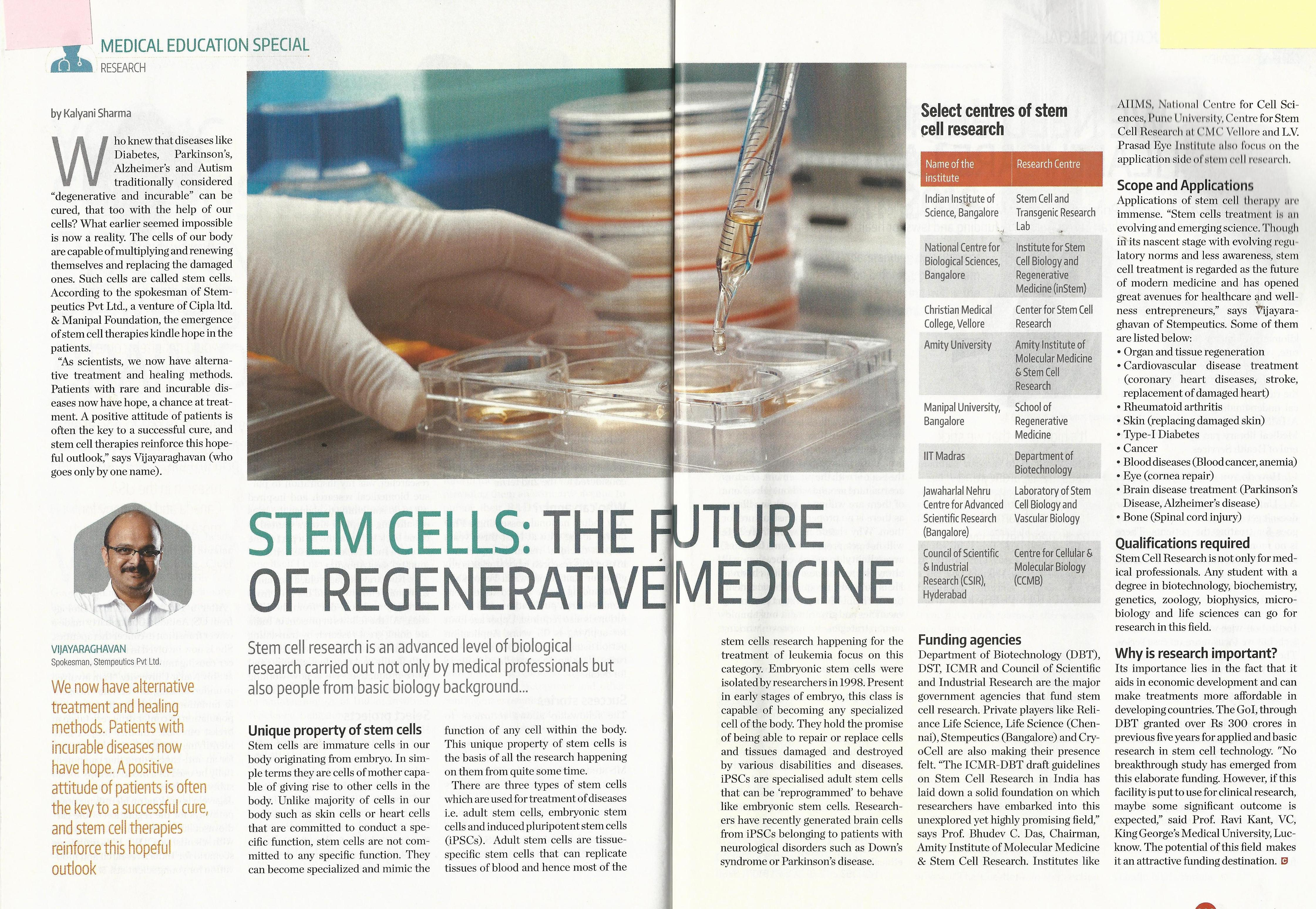 Stem Cell: The Future of Regenerative Medicine- Quote of Prof