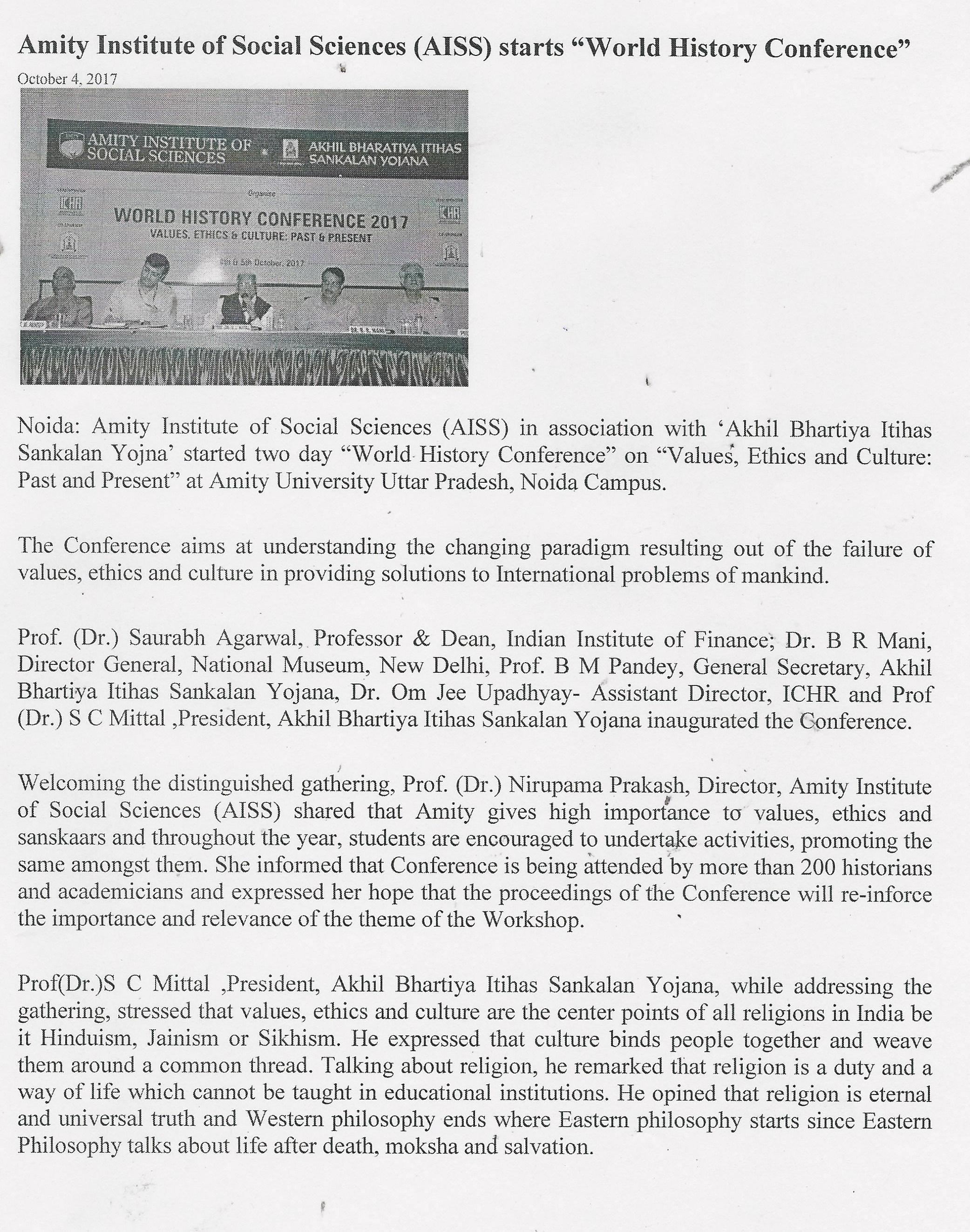 World History Conference 2017 held at Amity University Details