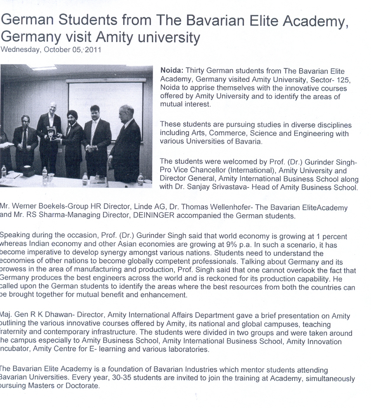 German Students from the Bavarian Elite Academy, Germany visit Amity
