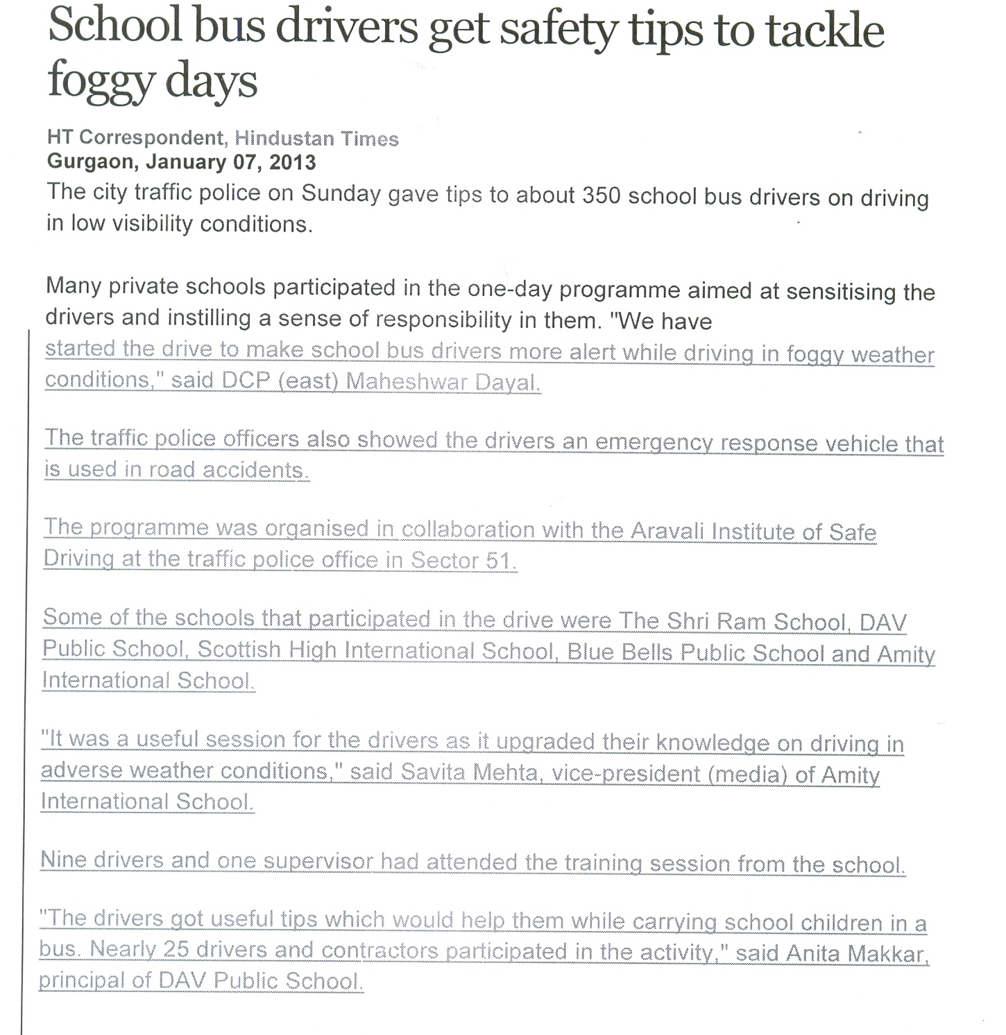 School bus drivers get safety tips to tackle foggy days