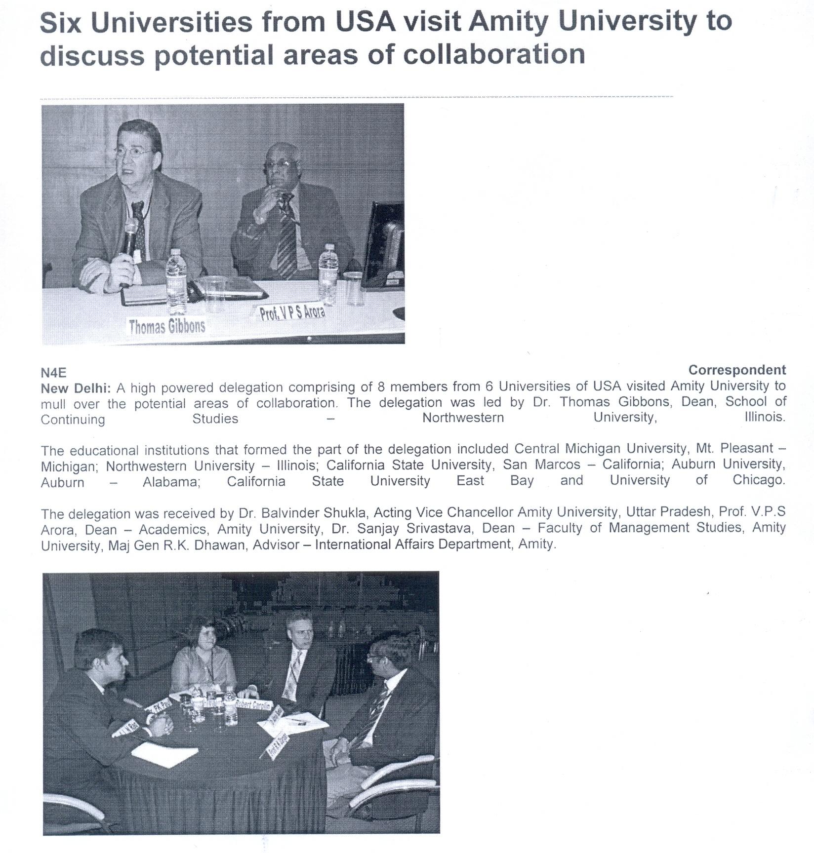 Delegation from Six Universities USA visits Amity University